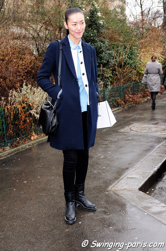 Liu Wen ( or ) leaving Chanel show, Paris F/W RtW 2012 Fashion Week, March 2012