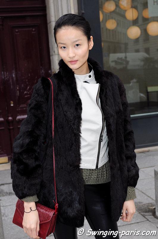 Liu Xu (刘旭) outside Atsuro Tayama show, Paris F/W 2013 RtW Fashion Week, February 2013