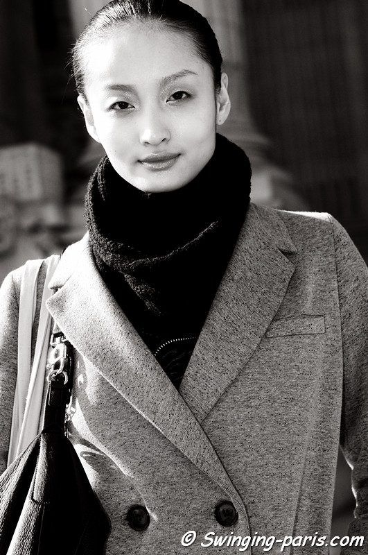 Liu Xu () exiting Amaya Arzuaga show, Paris Fashion Week, March 2011