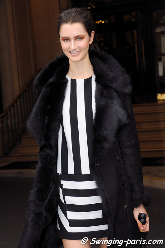 Mackenzie Drazan leaving Vionnet show, Paris F/W 2013 RtW Fashion Week, March 2013