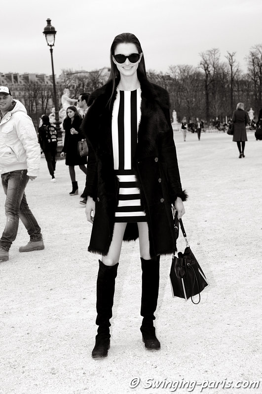 Mackenzie Drazan after Elie Saab show, Paris F/W 2013 RtW Fashion Week, March 2013