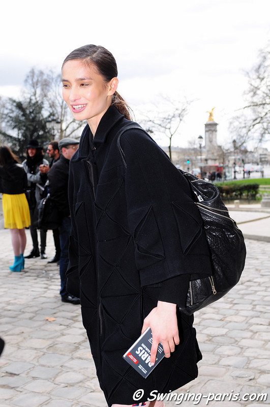Mackenzie Hamilton outside Lonard show, Paris F/W RtW 2012 Fashion Week, March 2012