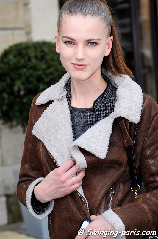 Magdalena Fiolka leaving Moncler Gamme Rouge show, Paris F/W 2013 RtW Fashion Week, March 2013
