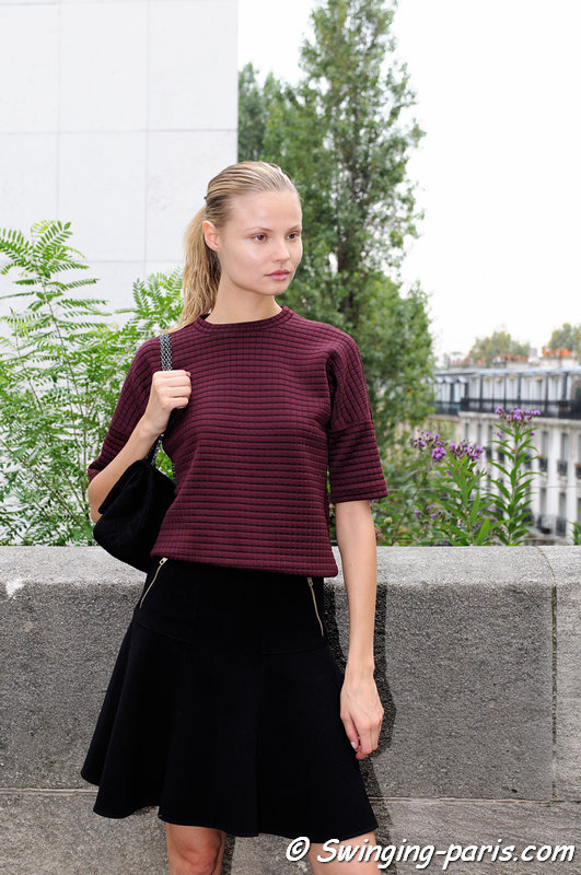Magdalena Frackowiak leaving Barbara Bui show, Paris S/S 2014 RtW Fashion Week, September 2013