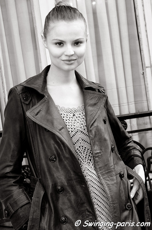 Magdalena Frackowiak leaving Emanuel Ungaro show, Paris Fashion Week, March 2011