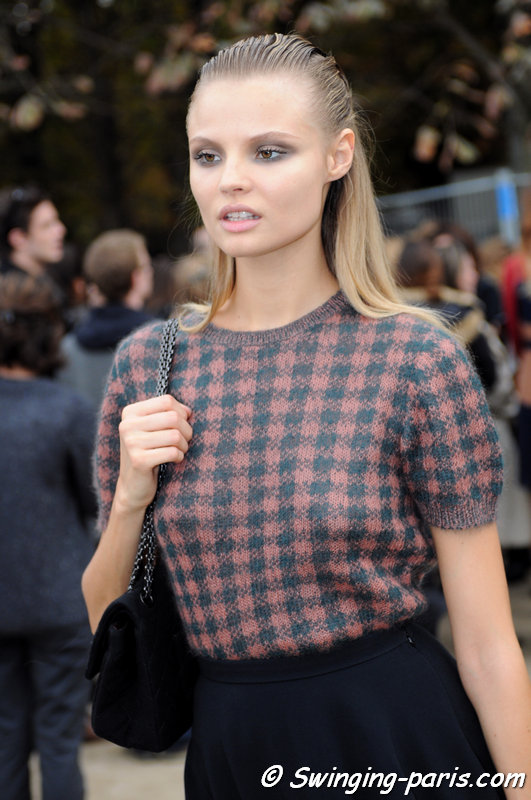 Magdalena Frackowiak leaving Elie Saab show, Paris S/S 2014 RtW Fashion Week, September 2013