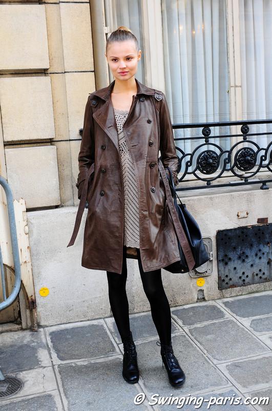 Magdalena Frackowiak leaving Emanuel Ungaro show, Paris Fashion Week, March 2011