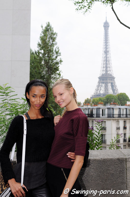 Magdalena Frackowiak and Anais Mali (left) leaving Barbara Bui show, Paris S/S 2014 RtW Fashion Week, September 2013