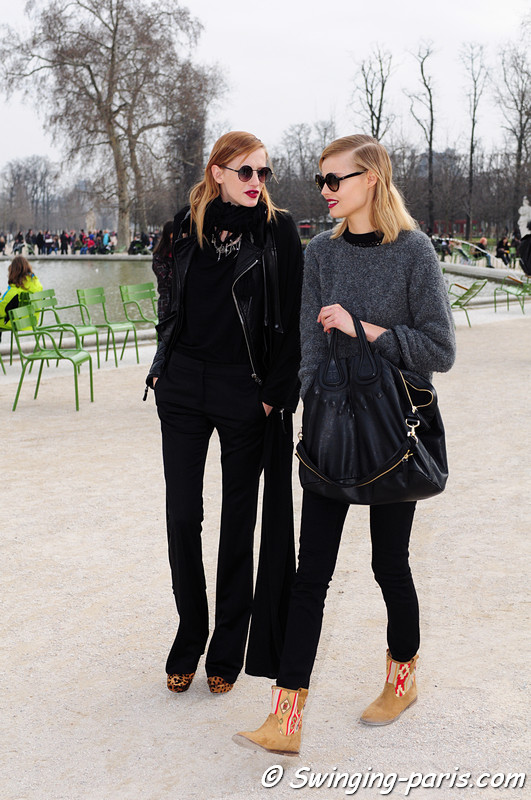 Magdalena Frackowiak (right) and Milagros Schmoll outside Guy Laroche show, Paris F/W RtW 2012 Fashion Week, February 2012