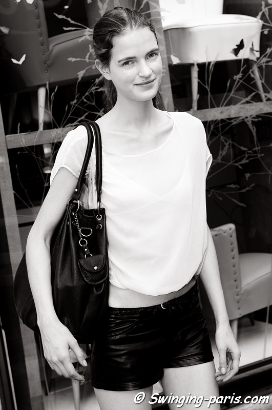 Magdalena Langrova outside Balenciaga show, Paris S/S 2012 Fashion Week, September 2011