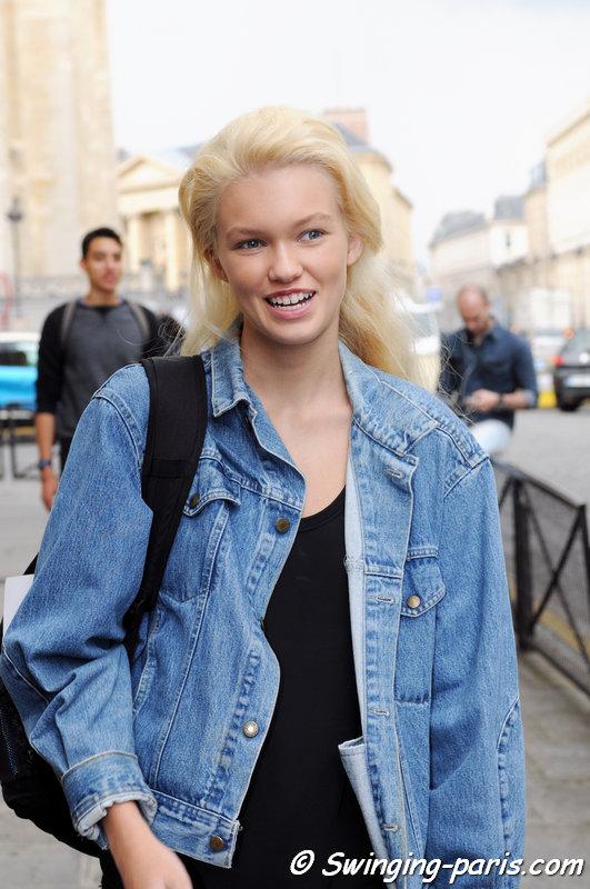 Maggie Laine outside Bouchra Jarrar show, Paris Haute Couture F/W 2014 Fashion Week, July 2014