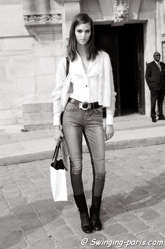 Manon Leloup outside Carven show, Paris S/S 2014 RtW Fashion Week, September 2013
