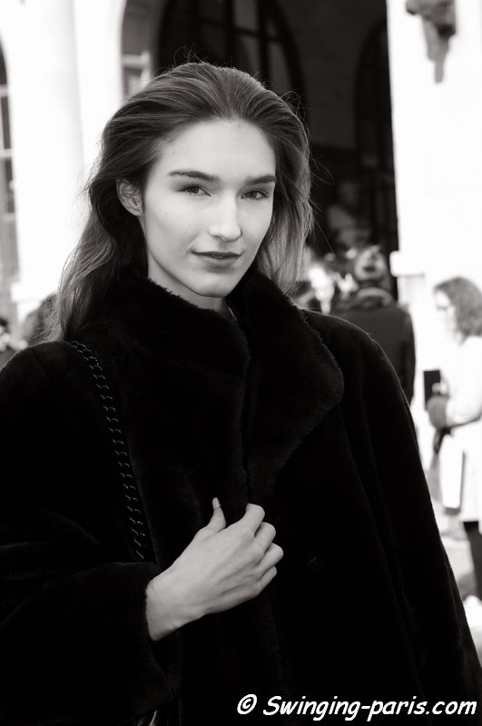 Manuela Frey outside Allude show, Paris F/W 2014 RtW Fashion Week, March 2014