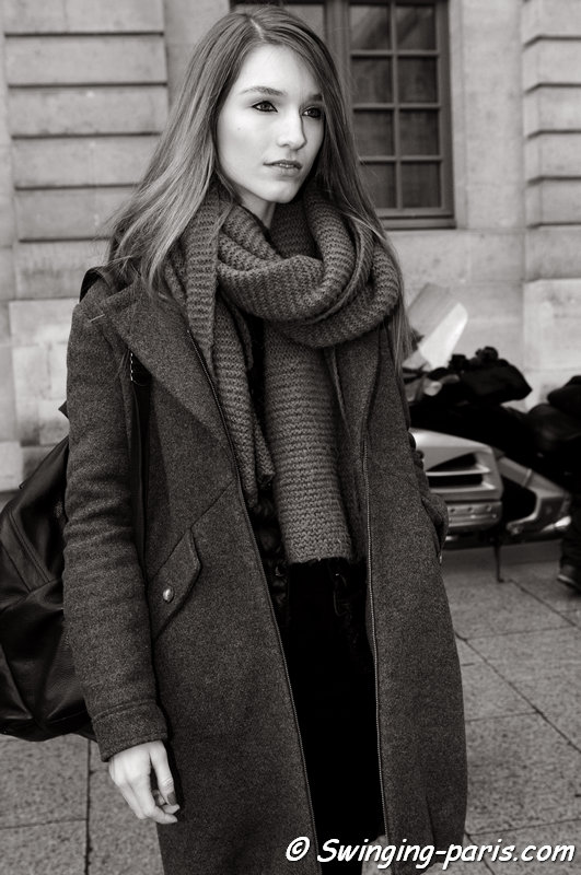 Manuela Frey outside Roland Mouret show, Paris F/W 2014 RtW Fashion Week, February 2014