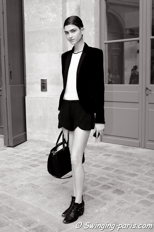 Marcele dal Cortivo outside Alexis Mabille show, Paris Haute Couture F/W 2013 Fashion Week, July 2013