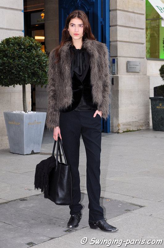 Marcele dal Cortivo exiting Ann Demeulemeester show, Paris F/W 2013 RtW Fashion Week, February 2013