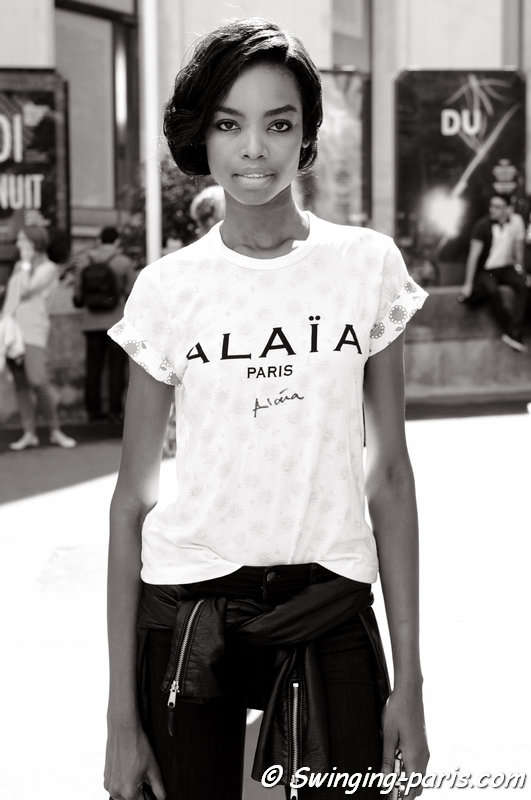 Maria Borges outside Ulyana Sergeenko show, Paris Haute Couture F/W 2014 Fashion Week, July 2014