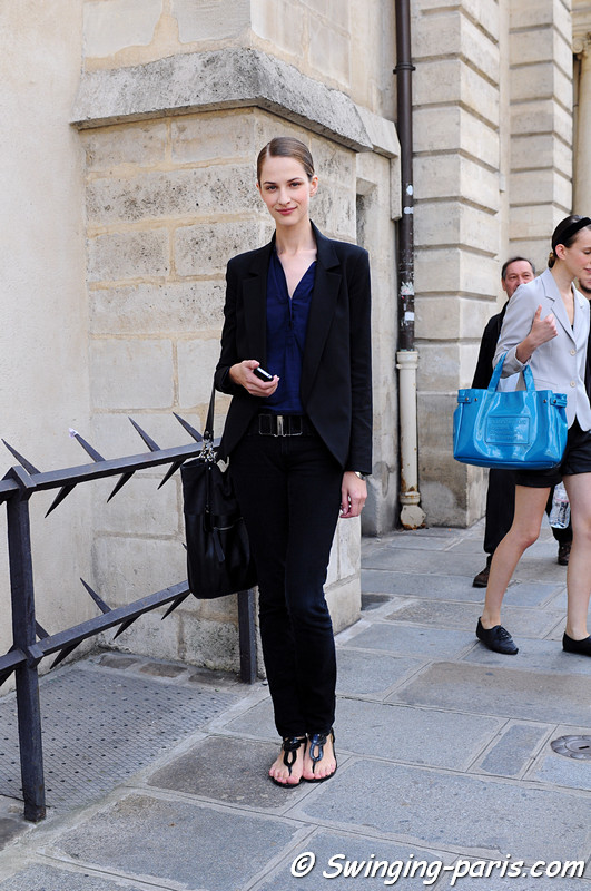 Maria Kashleva ( ) outside Christophe Josse show, Paris Haute Couture F/W 2012 Fashion Week, July 2012