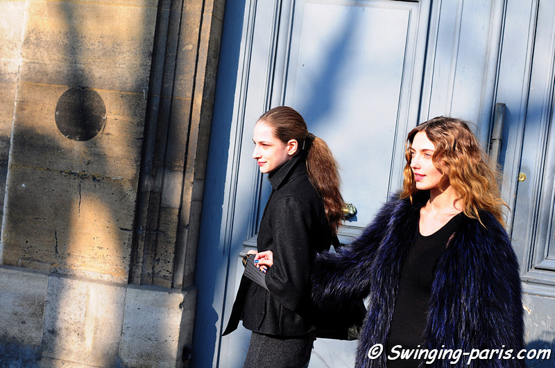 Alina Baikova (right) and Maria Kashleva (left) outside Christian Dior show, Paris Fashion Week, March 2011