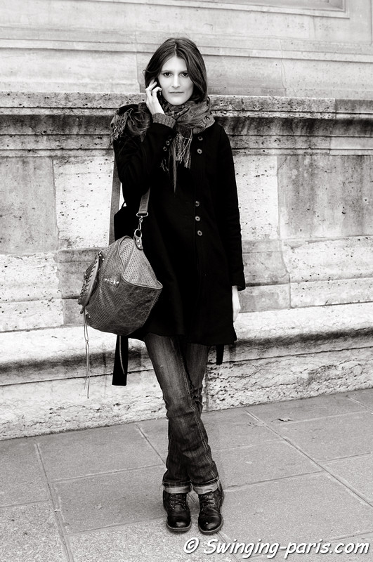 Marie Piovesan outside Sacai show, Paris F/W RtW 2012 Fashion Week, March 2012