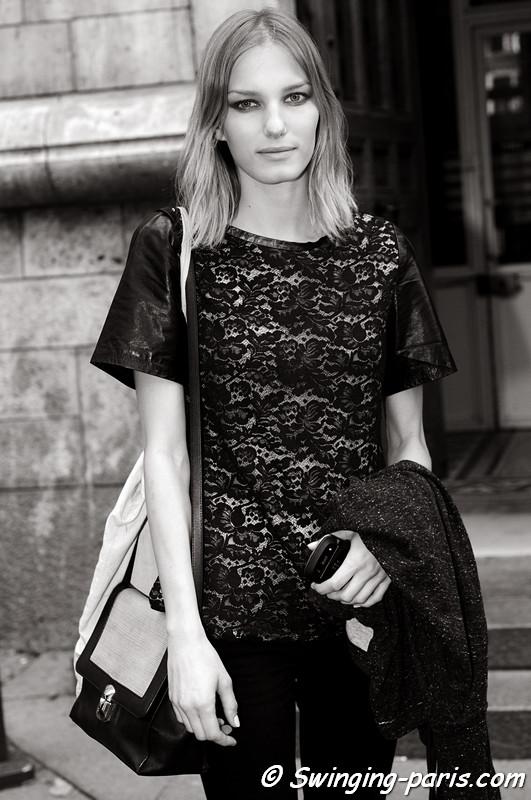 Marique Schimmel outside Felipe Oliveira Baptista show, Paris S/S 2013 RtW Fashion Week, September 2012