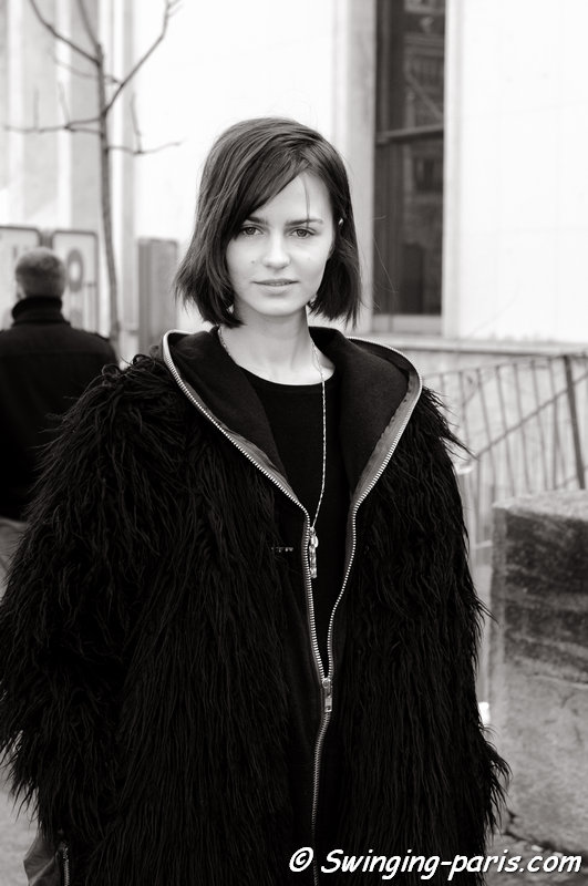 Marta Dyks leaving Léonard show, Paris F/W 2014 RtW Fashion Week, March 2014