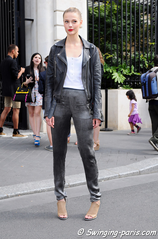 Martha Streck leaving Alexis Mabille show, Paris Haute Couture F/W 2012 Fashion Week, July 2012