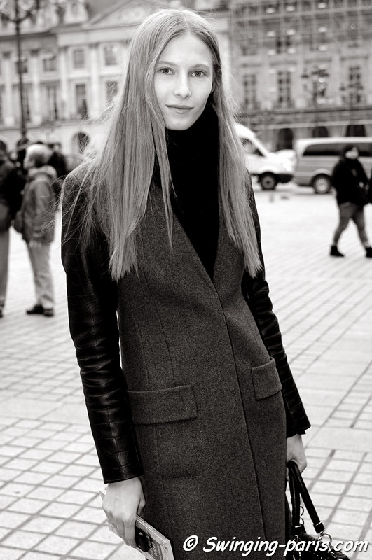 Martyna Budna exiting Ann Demeulemeester show, Paris F/W 2013 RtW Fashion Week, February 2013