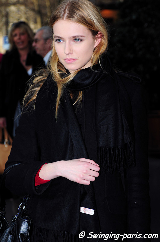 Megan Irminger leaving Felipe Oliveira Baptista show, Paris F/W RtW 2012 Fashion Week, February 2012