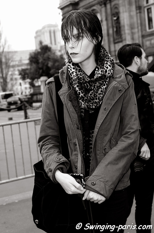 Meghan Collison outside Haider Ackermann show, Paris F/W RtW 2012 Fashion Week, March 2012
