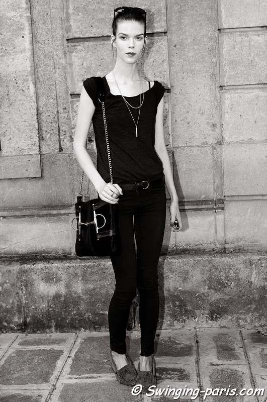 Meghan Collison outside Valentino show, Paris Haute Couture F/W 2012 Fashion Week, July 2012