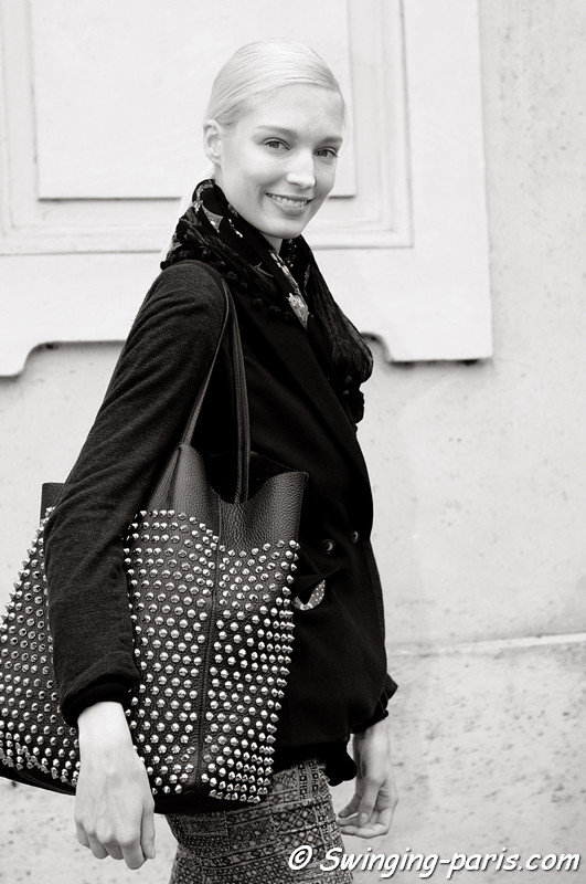 Melissa Tammerijn exiting Damir Doma show, Paris S/S 2013 RtW Fashion Week, September 2012