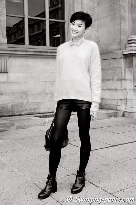 Meng Huang outside Louis Vuitton show, Paris S/S 2013 RtW Fashion Week, October 2012