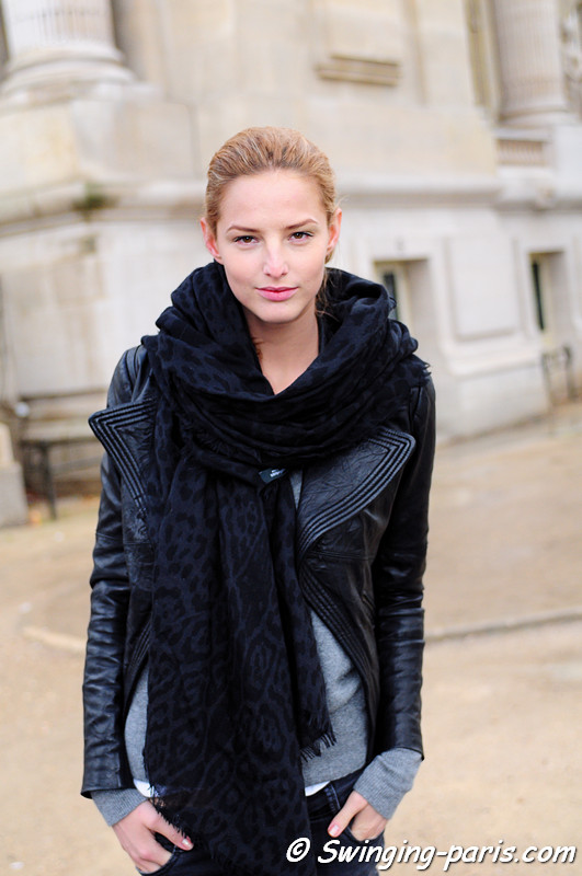 Michaela Kocianova outside Giorgio Armani Privé show, Paris Haute Couture S/S 2012 Fashion Week, January 2012
