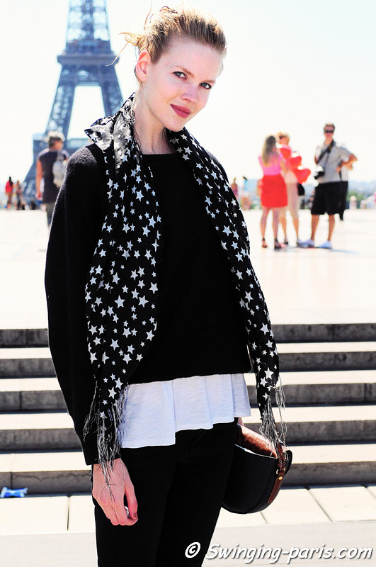 Michelle Westgeest outside Giorgio Armani Privé show, Paris Haute Couture F/W Fashion Week, July 2011