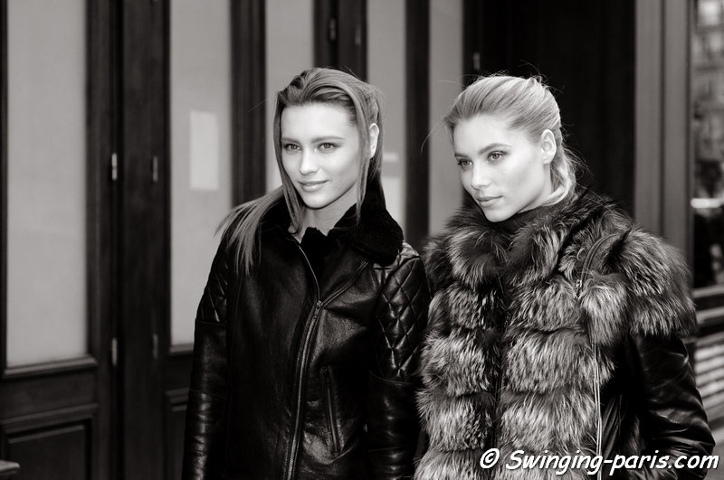 Mila Krasnoiarova (Мила Красноярова, left) and Vika Falileeva (Вика Фалилеева) leaving Vionnet show, Paris F/W 2013 RtW Fashion Week, March 2013