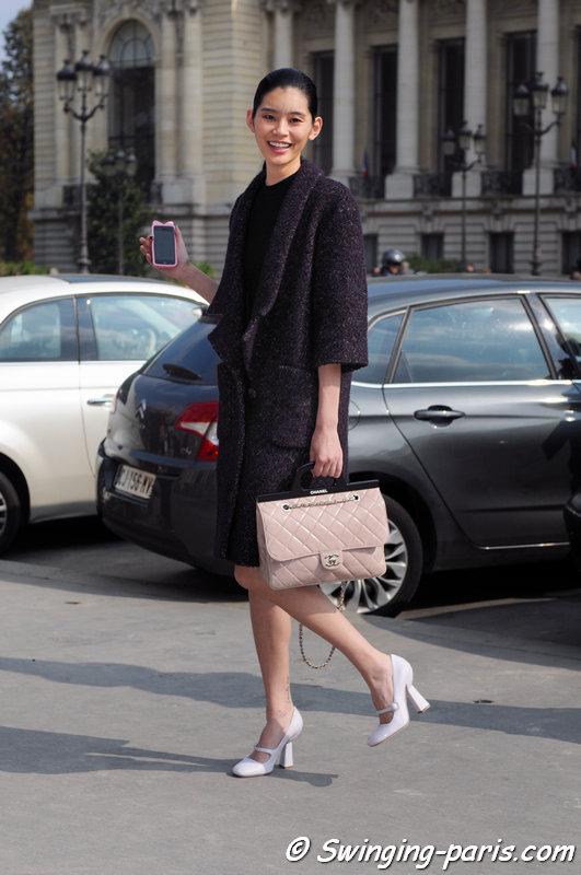 "Mengyao ""Ming"" Xi leaving Guy Laroche show, Paris S/S 2015 RtW Fashion Week, September 2014"