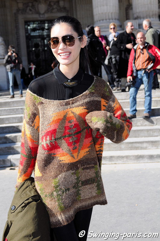 "Mengyao ""Ming"" Xi outside Léonard show, Paris S/S 2013 RtW Fashion Week, October 2012"
