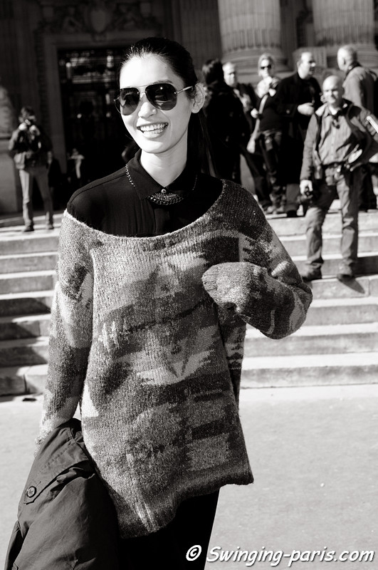 Mengyao Ming Xi outside Lonard show, Paris S/S 2013 RtW Fashion Week, October 2012