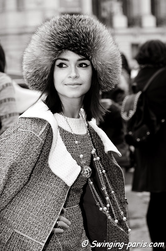 Miroslava Duma leaving Chanel show, Paris Haute Couture S/S 2013 Fashion Week, January 2013