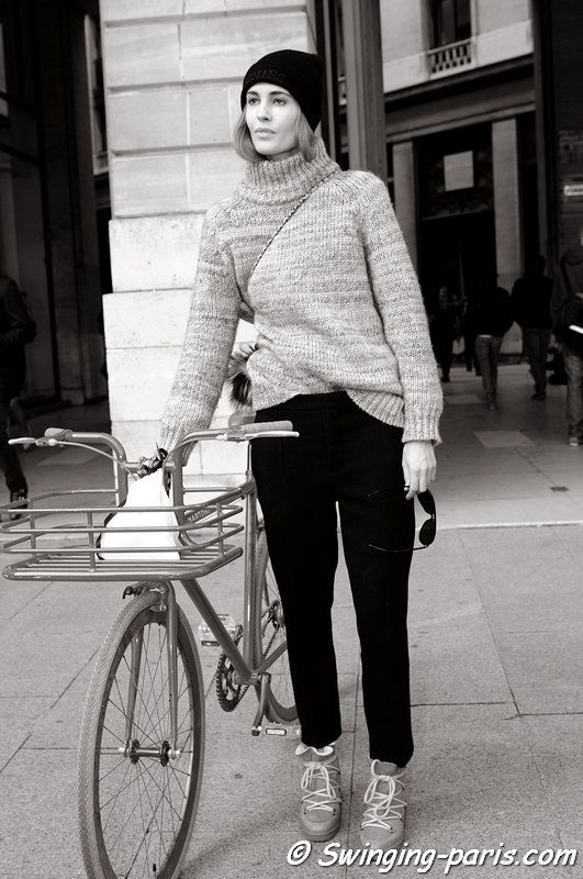 Nadja Bender leaving Vionnet show, Paris S/S 2014 RtW Fashion Week, October 2013