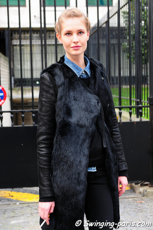 Nadja Bender outside Christophe Josse show, Paris Haute Couture S/S 2012 Fashion Week, January 2012