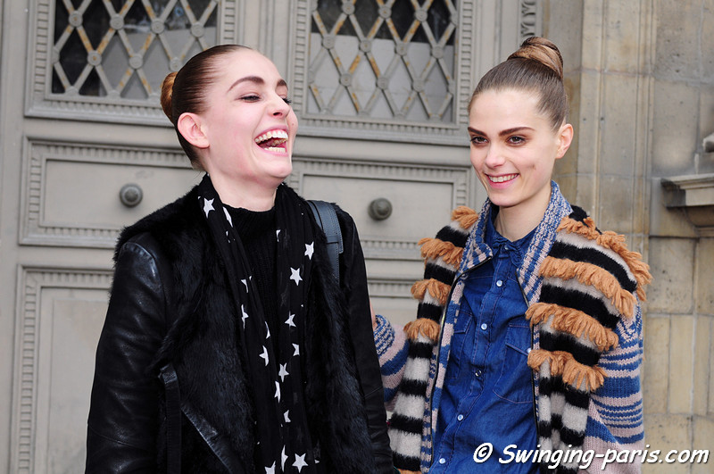 Caroline Brasch Nielsen and Nadja Bender (left) leaving Louis Vuitton show, Paris F/W RtW 2012 Fashion Week, March 2012