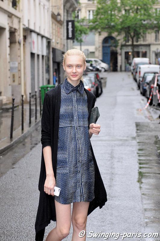 Nastya Kusakina (Настя Кусакина) leaving Jean Paul Gaultier show, Paris Haute Couture F/W 2014 Fashion Week, July 2014