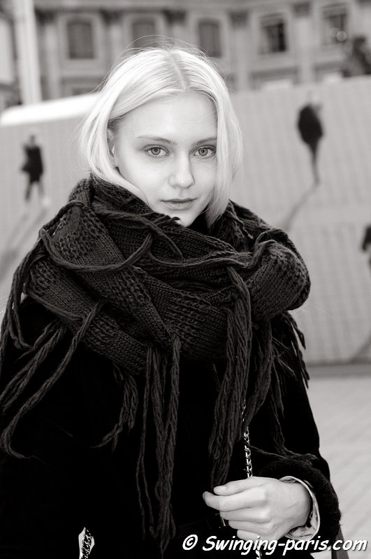 Nastya Kusakina ( ) exiting Ann Demeulemeester show, Paris F/W 2013 RtW Fashion Week, February 2013