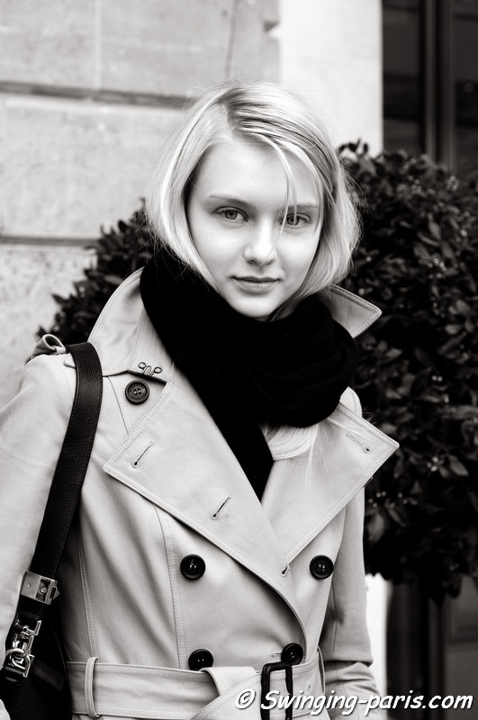 Nastya Kusakina (Настя Кусакина) leaving Roland Mouret show, Paris F/W 2014 RtW Fashion Week, February 2014