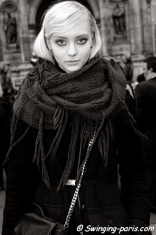 Nastya Kusakina ( ) outside Dries van Noten show, Paris F/W 2013 RtW Fashion Week, February 2013