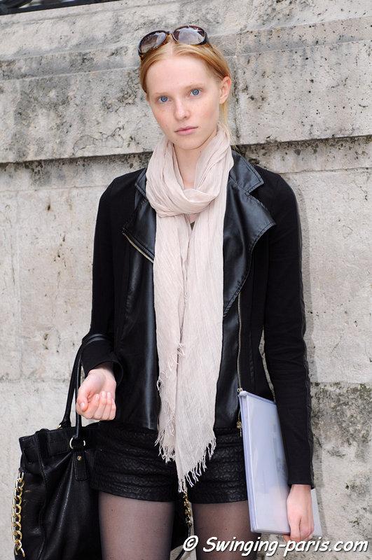 Nastya Zhidkikh (Анастасия Жидких) outside Christophe Josse show, Paris Haute Couture F/W 2013 Fashion Week, July 2013