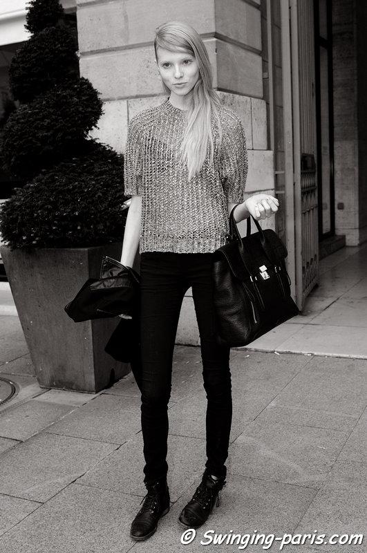 Nastya Zhidkikh (Анастасия Жидких) leaving Jean-Charles de Castelbajac show, Paris S/S 2014 RtW Fashion Week, October 2013