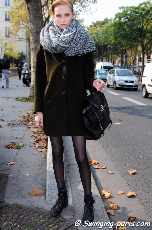 Nastya Zhidkikh (Анастасия Жидких,) leaving Damir Doma show, Paris S/S 2015 RtW Fashion Week, September 2014